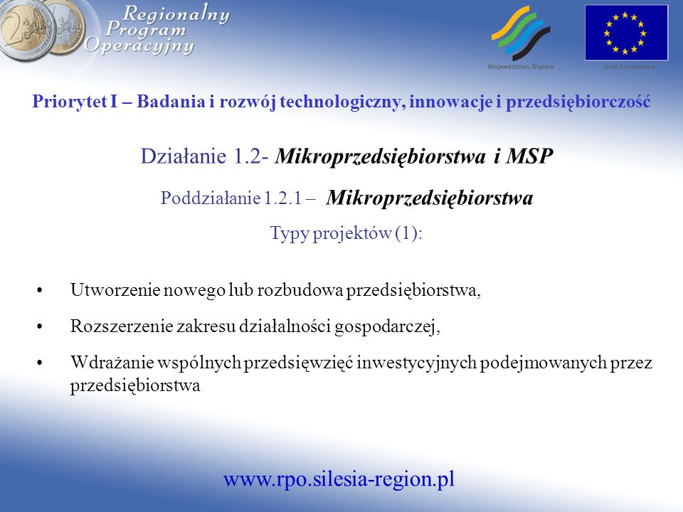 Działanie 1.2- Mikroprzedsiębiorstwa i MSP