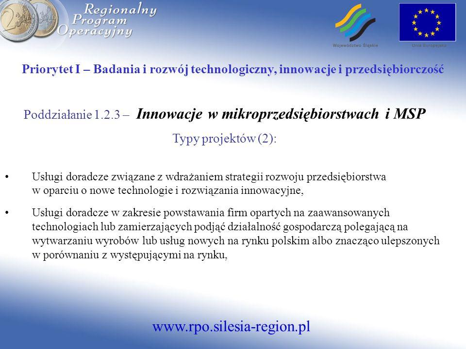 Poddziałanie 1.2.3 – Innowacje w mikroprzedsiębiorstwach i MSP