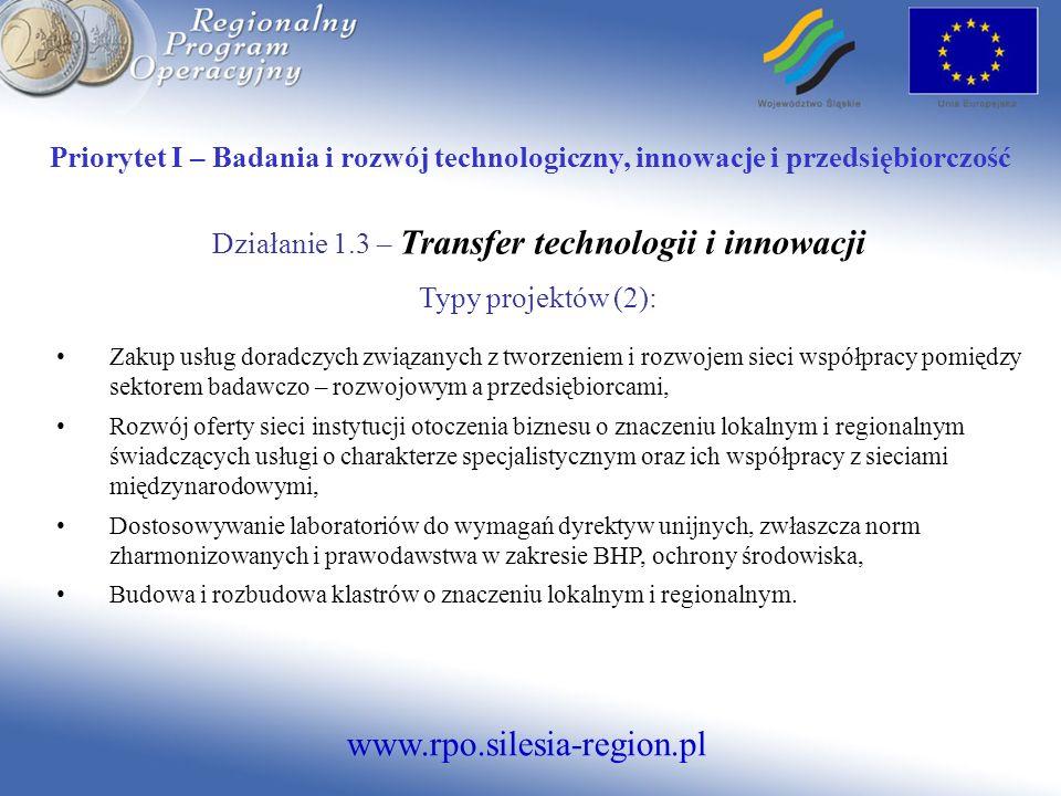 Działanie 1.3 – Transfer technologii i innowacji