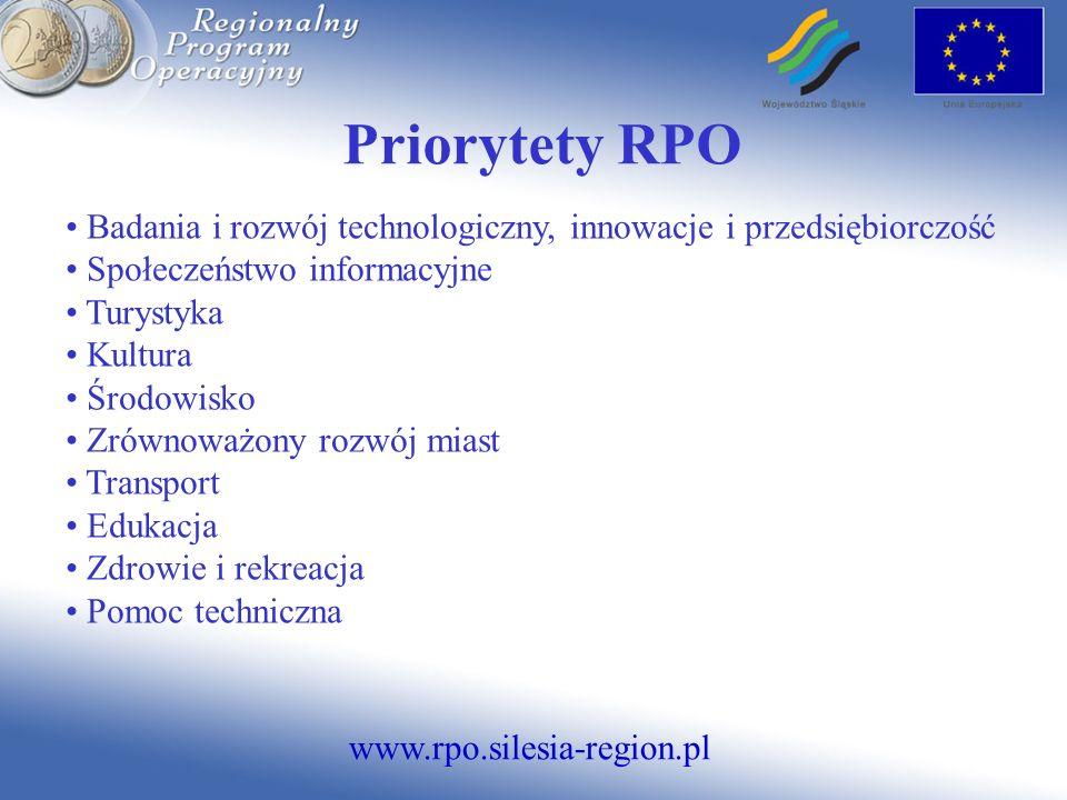Priorytety RPO Badania i rozwój technologiczny, innowacje i przedsiębiorczość. Społeczeństwo informacyjne.