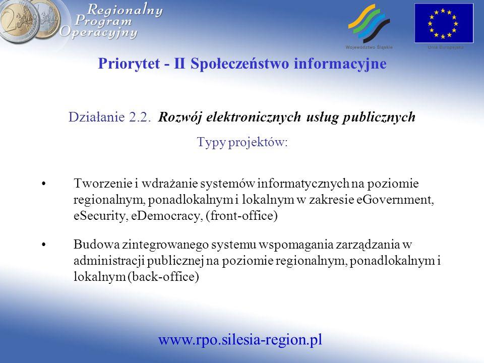 Priorytet - II Społeczeństwo informacyjne