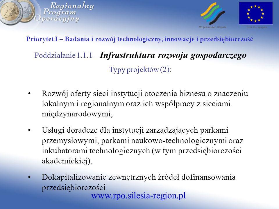 Poddziałanie 1.1.1 – Infrastruktura rozwoju gospodarczego