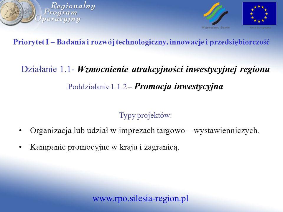 Działanie 1.1- Wzmocnienie atrakcyjności inwestycyjnej regionu