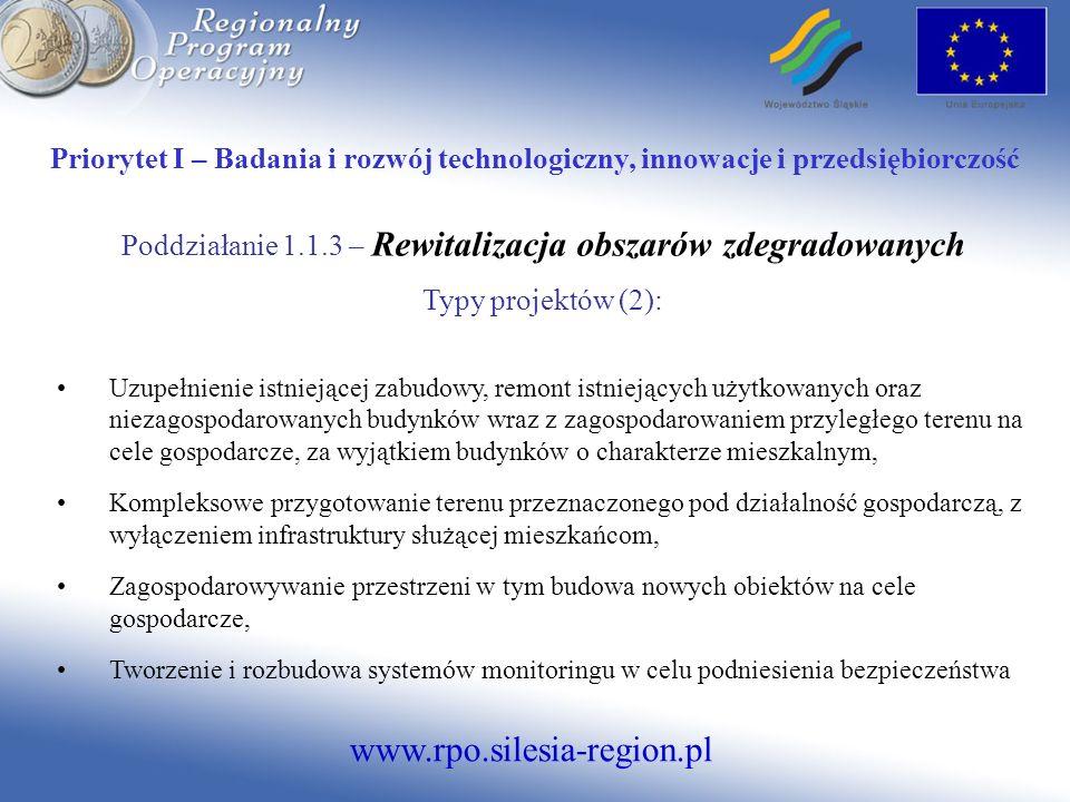 Poddziałanie 1.1.3 – Rewitalizacja obszarów zdegradowanych