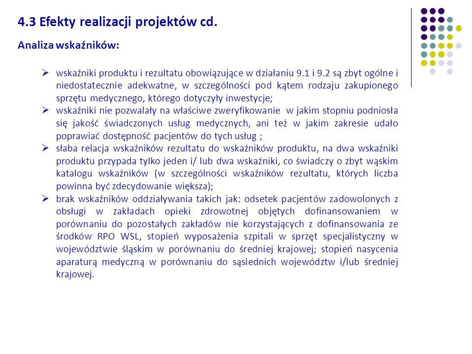 4.3 Efekty realizacji projektów cd.