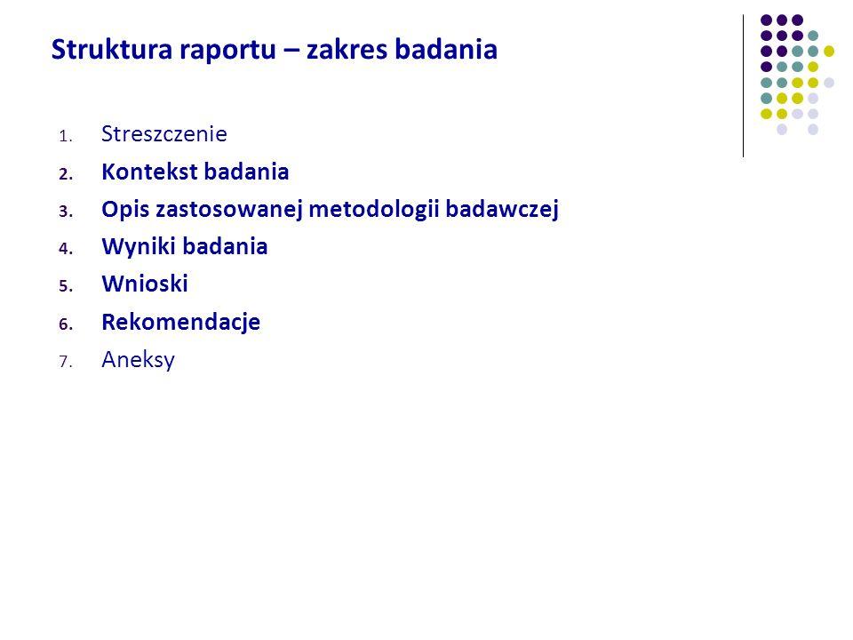 Struktura raportu – zakres badania