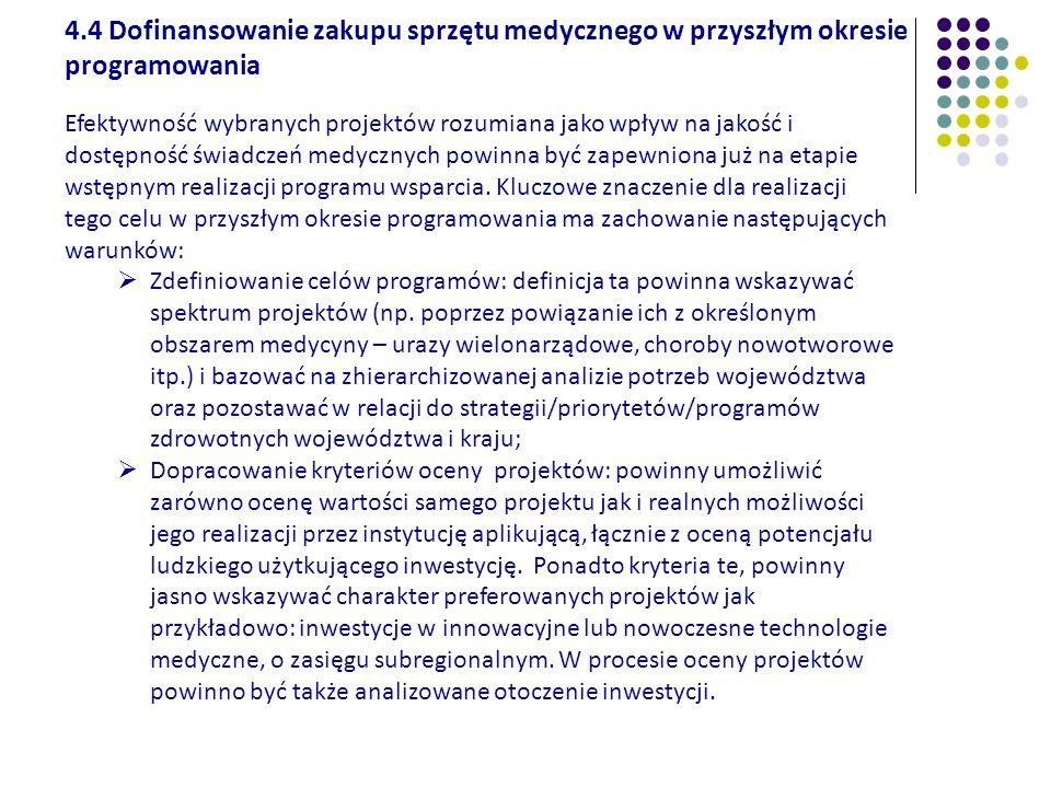 4.4 Dofinansowanie zakupu sprzętu medycznego w przyszłym okresie programowania