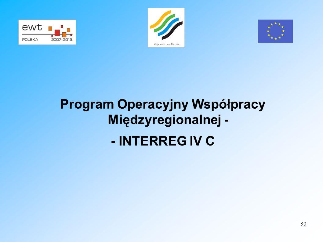 Program Operacyjny Współpracy Międzyregionalnej -