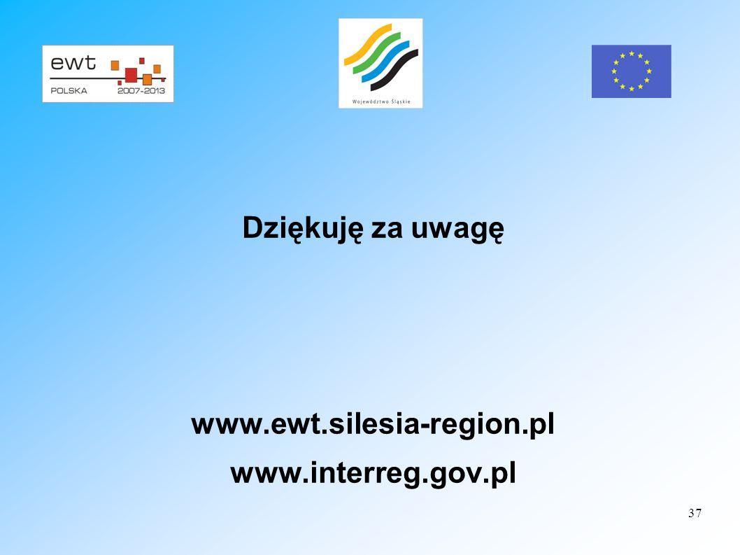 Dziękuję za uwagę www.ewt.silesia-region.pl www.interreg.gov.pl