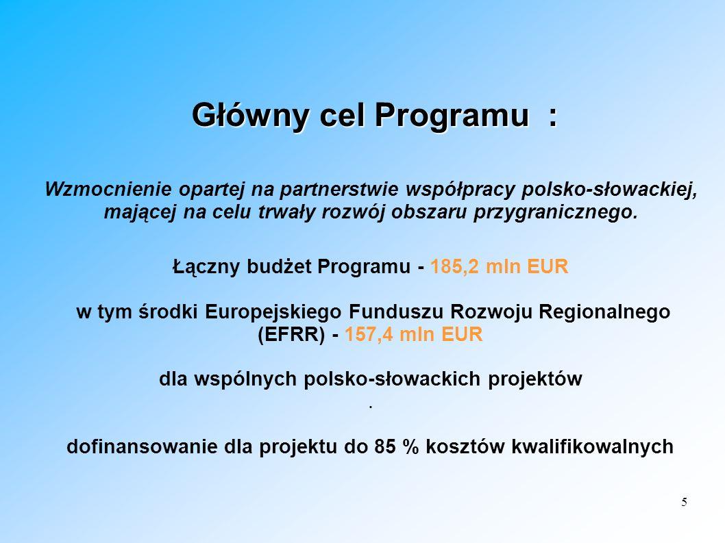 Główny cel Programu : Wzmocnienie opartej na partnerstwie współpracy polsko-słowackiej, mającej na celu trwały rozwój obszaru przygranicznego.
