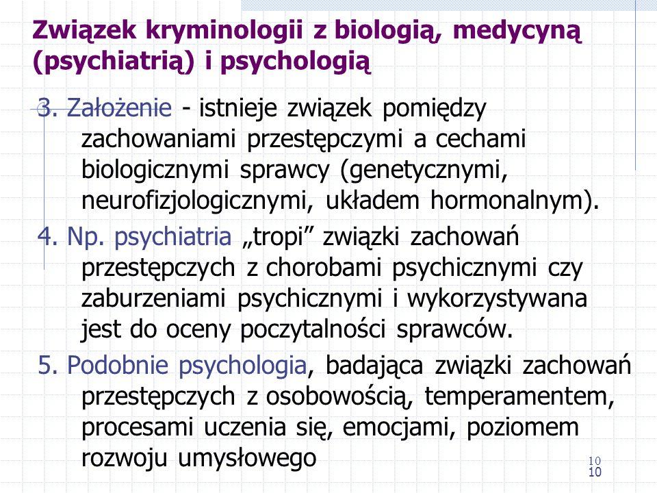 Związek kryminologii z biologią, medycyną (psychiatrią) i psychologią