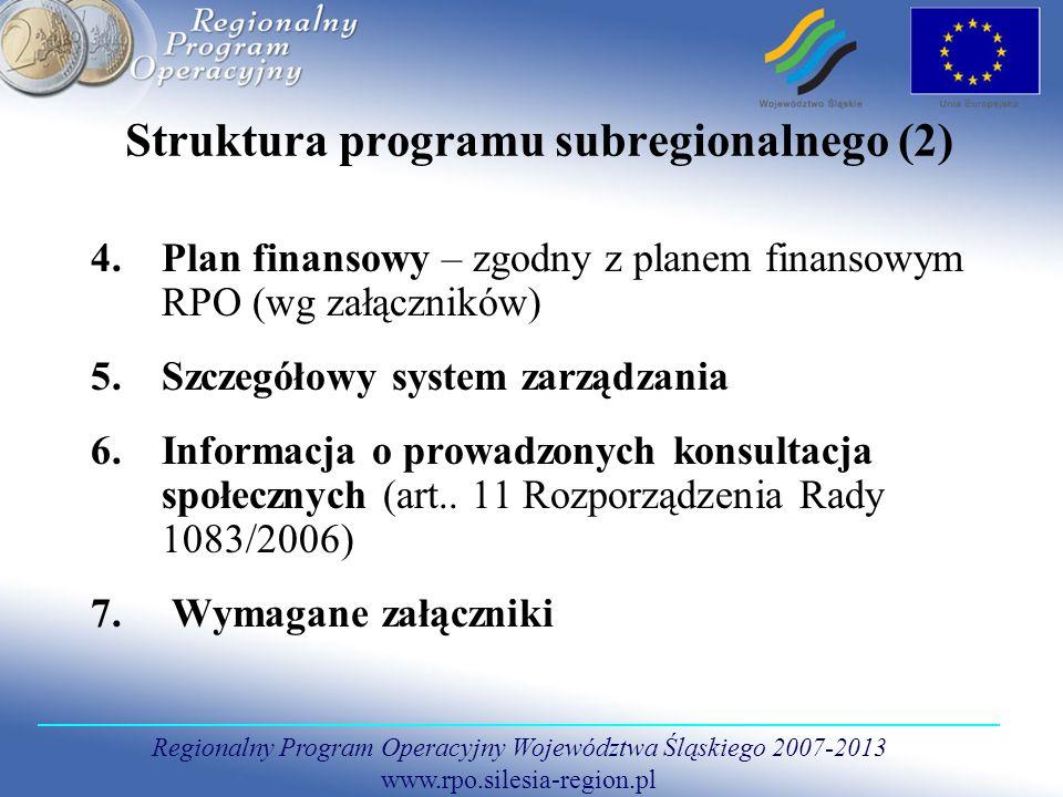 Struktura programu subregionalnego (2)
