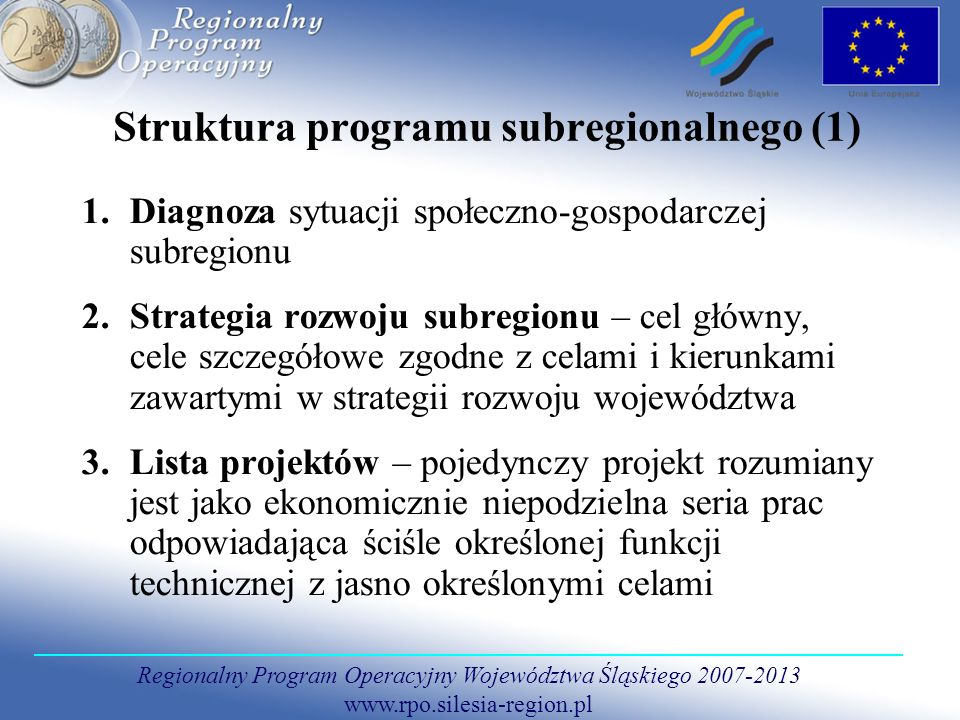 Struktura programu subregionalnego (1)