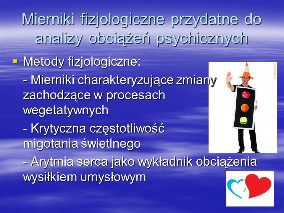 Mierniki fizjologiczne przydatne do analizy obciążeń psychicznych