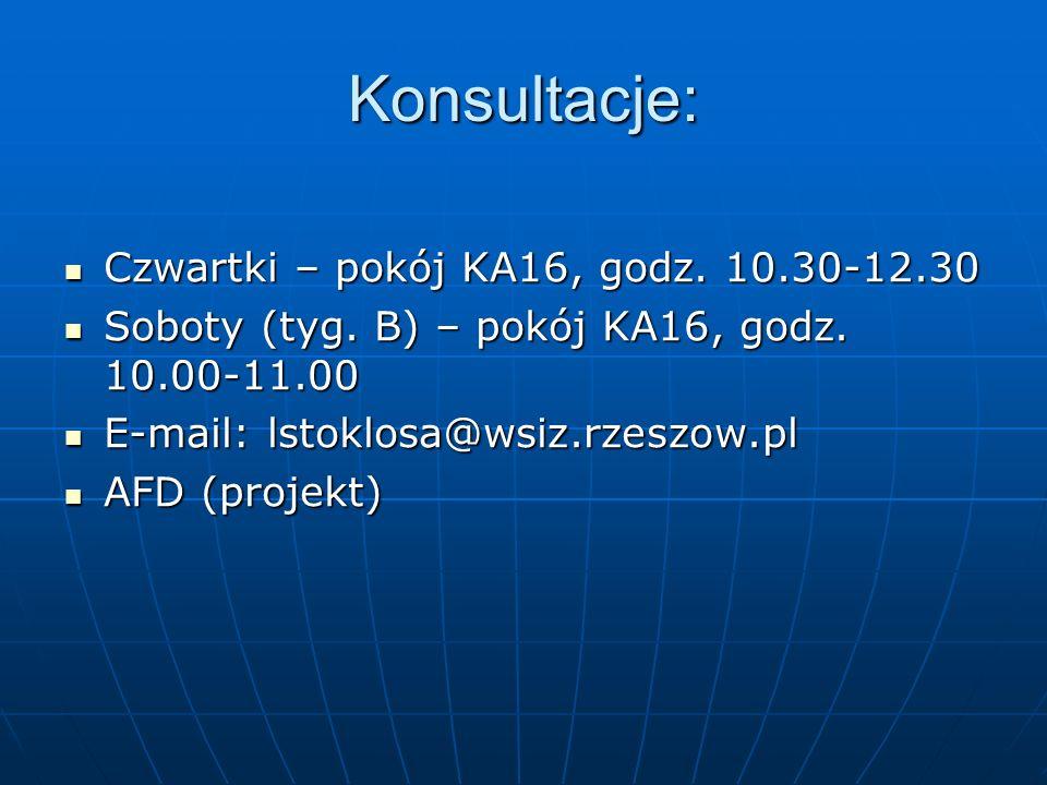 Konsultacje: Czwartki – pokój KA16, godz. 10.30-12.30