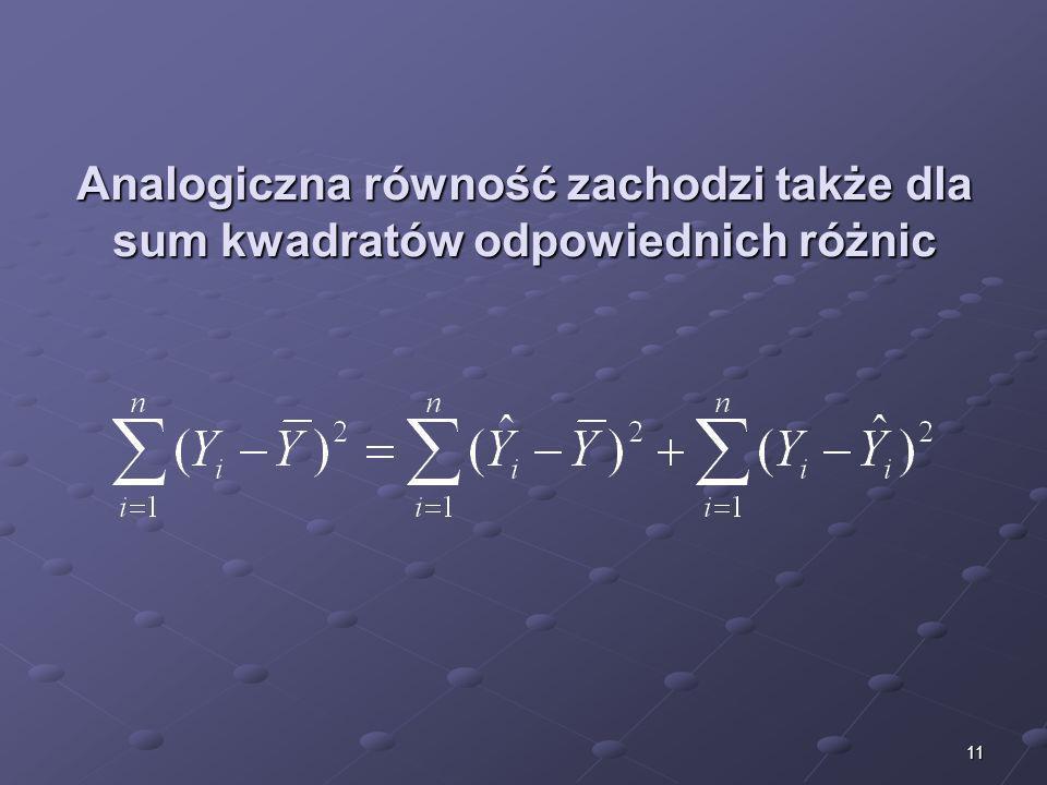 Analogiczna równość zachodzi także dla sum kwadratów odpowiednich różnic