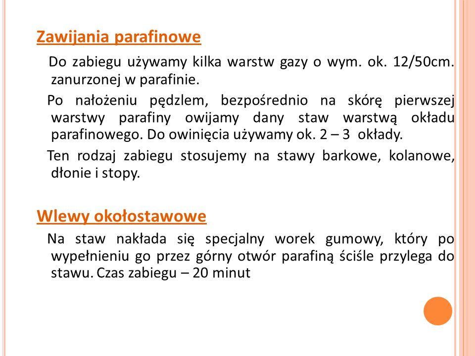 Zawijania parafinowe Do zabiegu używamy kilka warstw gazy o wym. ok. 12/50cm. zanurzonej w parafinie.