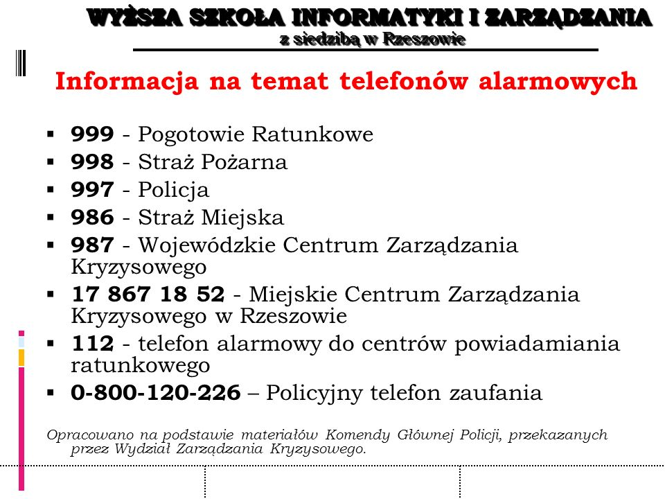 Informacja na temat telefonów alarmowych
