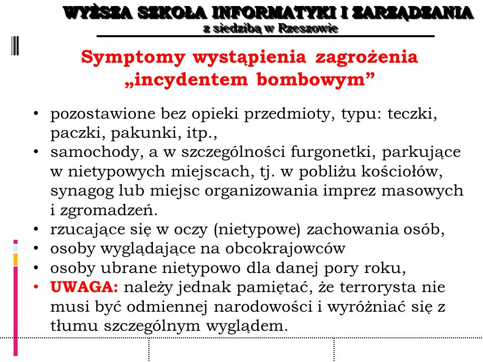 """Symptomy wystąpienia zagrożenia """"incydentem bombowym"""