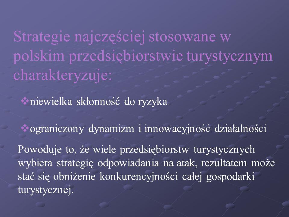 Strategie najczęściej stosowane w polskim przedsiębiorstwie turystycznym charakteryzuje: