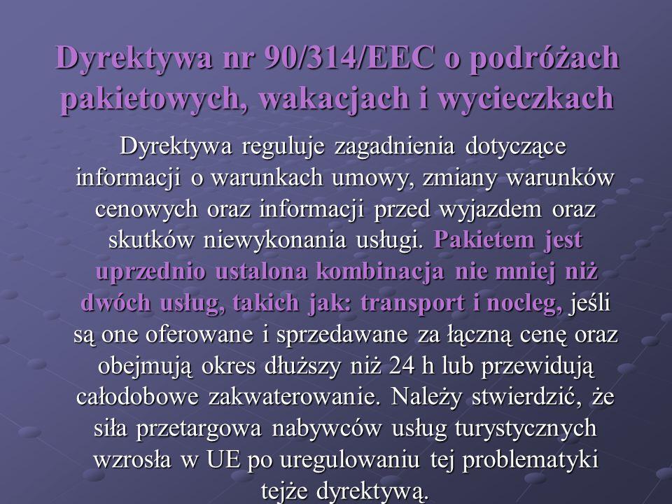 Dyrektywa nr 90/314/EEC o podróżach pakietowych, wakacjach i wycieczkach
