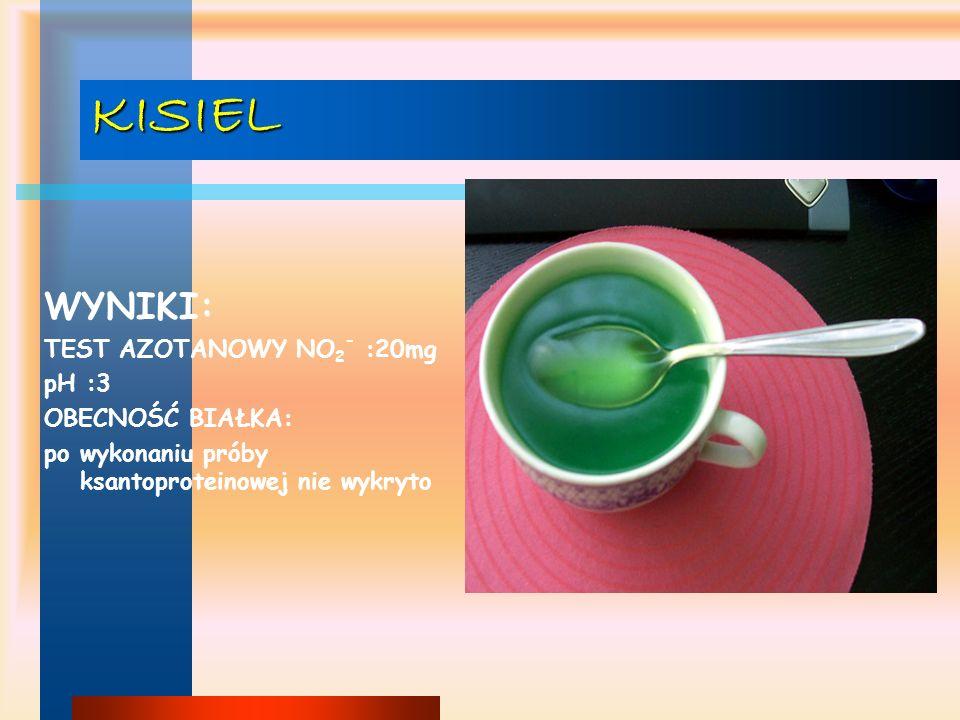 KISIEL WYNIKI: TEST AZOTANOWY NO2- :20mg pH :3 OBECNOŚĆ BIAŁKA: