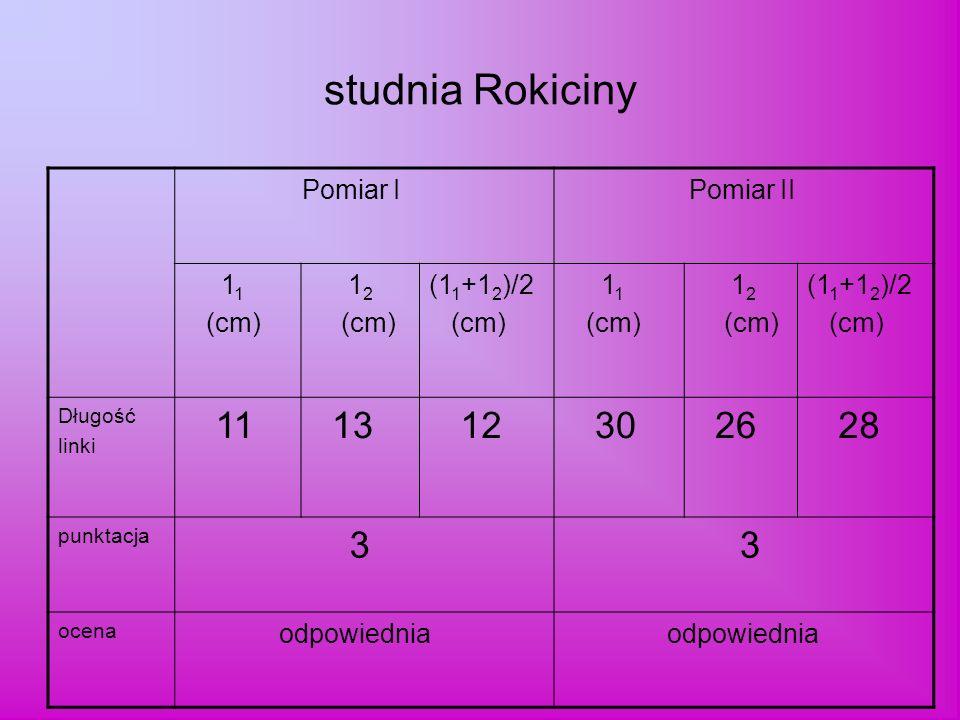 studnia Rokiciny 13 30 26 28 3 Pomiar I Pomiar II 11 (cm) 12 (11+12)/2