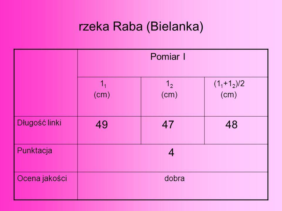 rzeka Raba (Bielanka) 49 47 48 4 Pomiar I 11 (cm) 12 (11+12)/2