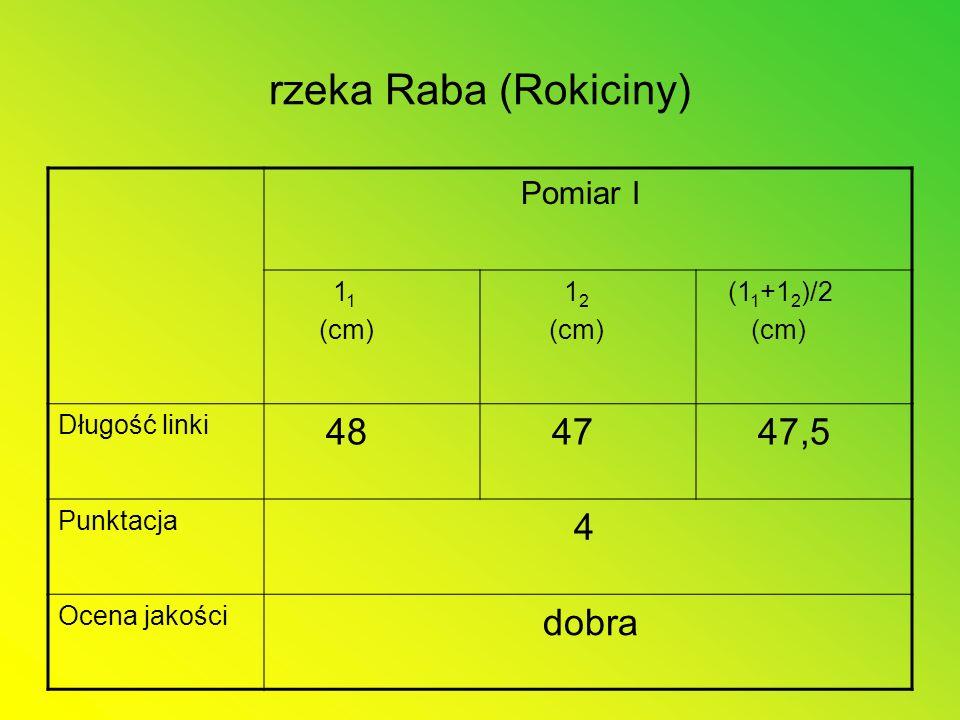 rzeka Raba (Rokiciny) 48 47 47,5 4 dobra Pomiar I 11 (cm) 12 (11+12)/2
