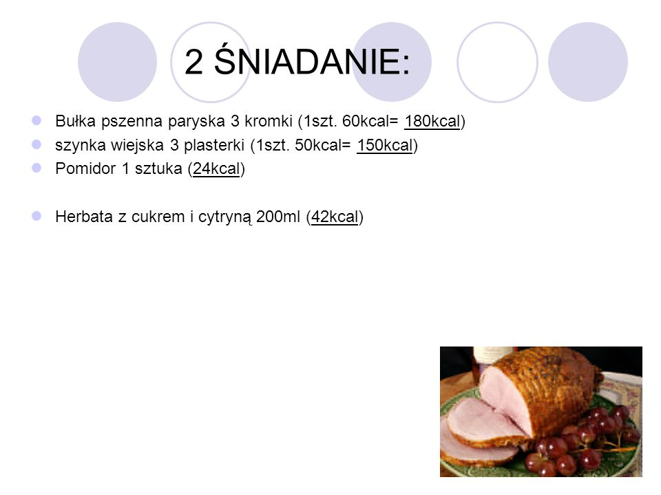 2 ŚNIADANIE: Bułka pszenna paryska 3 kromki (1szt. 60kcal= 180kcal)
