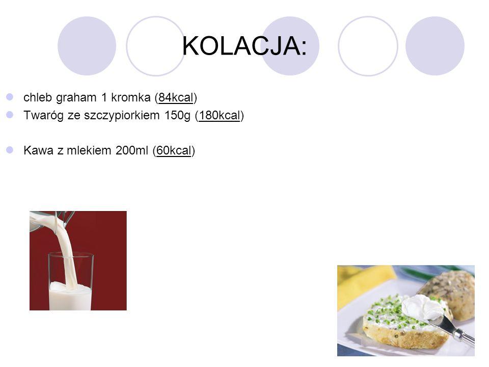 KOLACJA: chleb graham 1 kromka (84kcal)