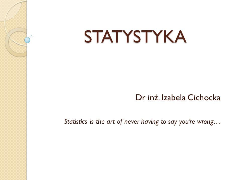 STATYSTYKA Dr inż. Izabela Cichocka