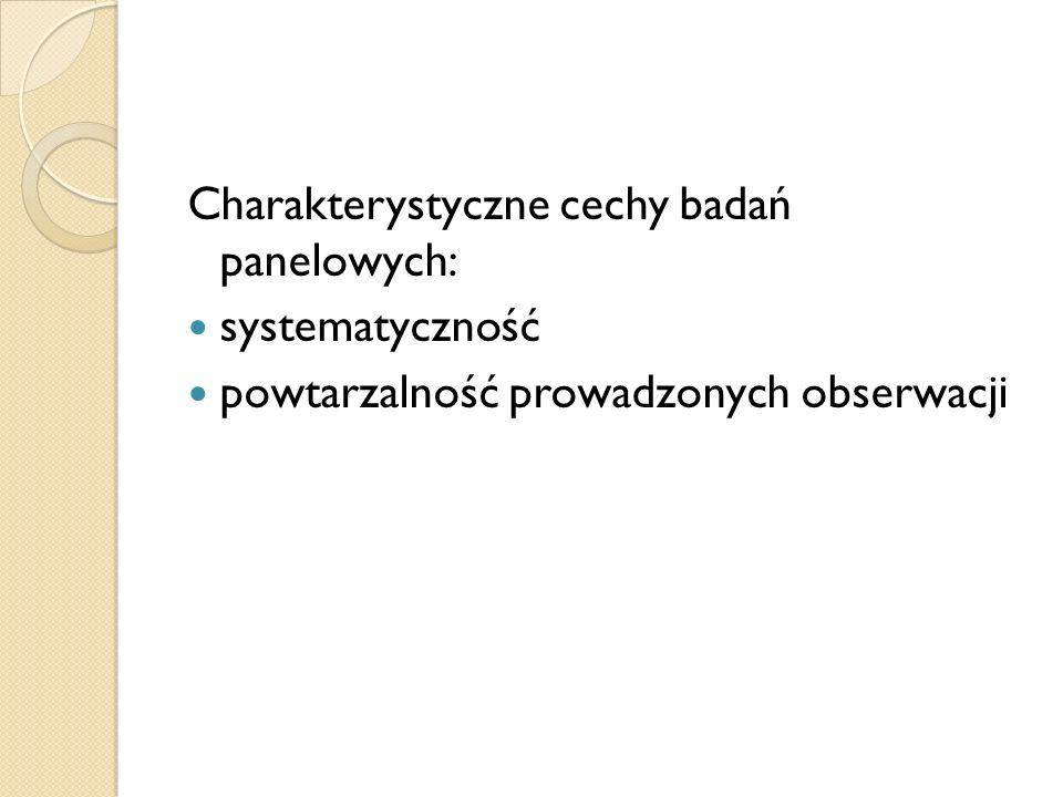 Charakterystyczne cechy badań panelowych: