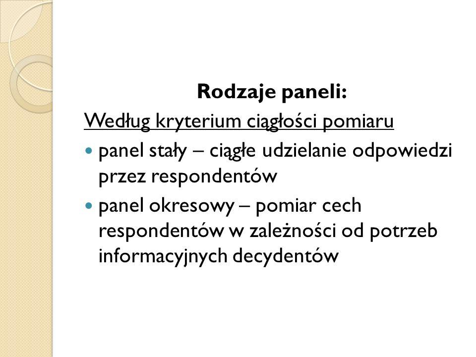 Rodzaje paneli: Według kryterium ciągłości pomiaru. panel stały – ciągłe udzielanie odpowiedzi przez respondentów.