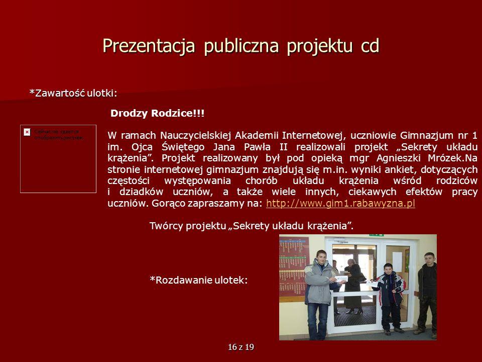 Prezentacja publiczna projektu cd