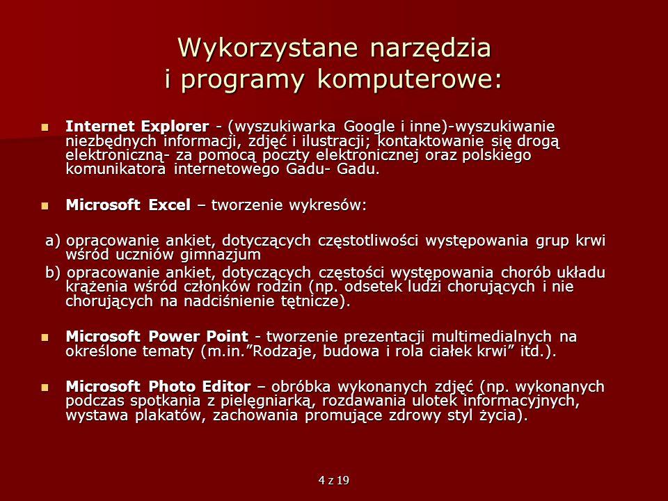 Wykorzystane narzędzia i programy komputerowe: