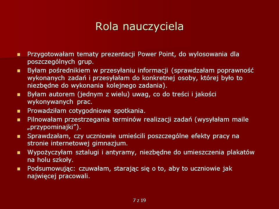 Rola nauczyciela Przygotowałam tematy prezentacji Power Point, do wylosowania dla poszczególnych grup.