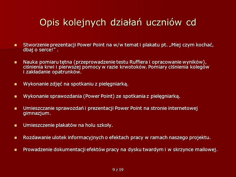 Opis kolejnych działań uczniów cd
