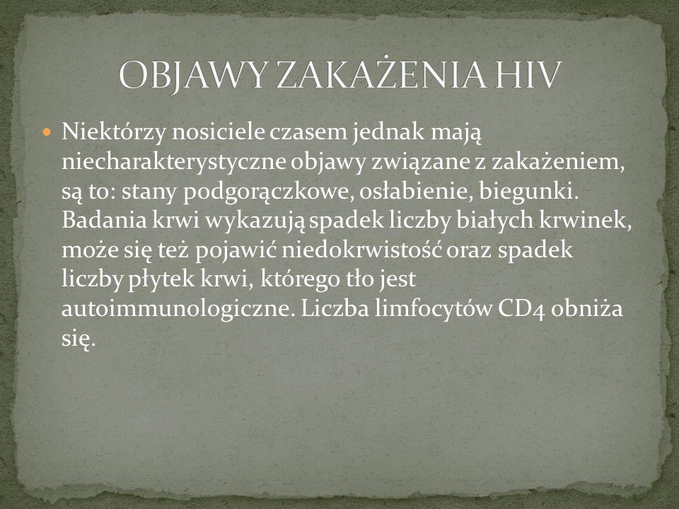OBJAWY ZAKAŻENIA HIV