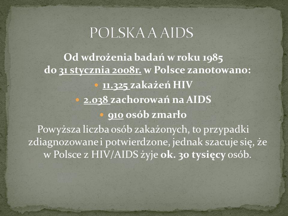 POLSKA A AIDS Od wdrożenia badań w roku 1985 do 31 stycznia 2008r. w Polsce zanotowano: 11.325 zakażeń HIV.