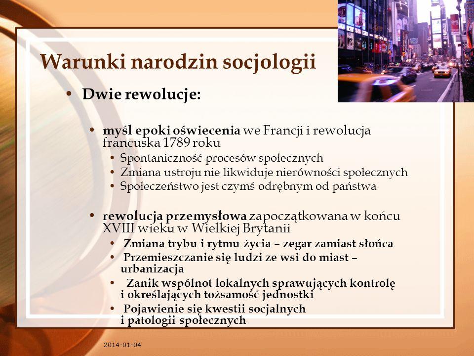 Warunki narodzin socjologii