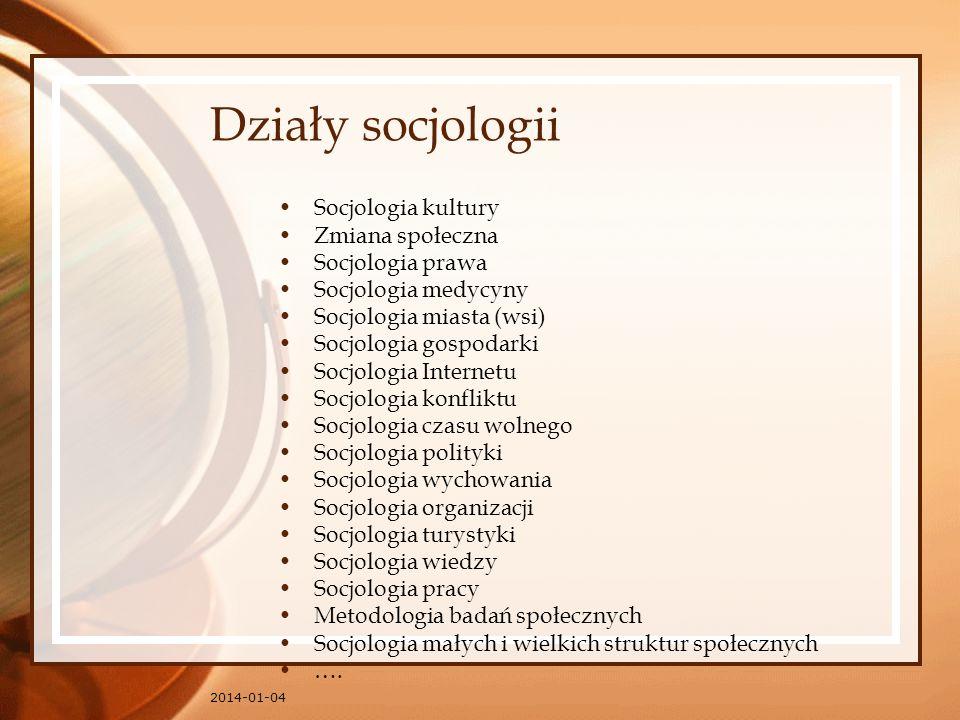 Działy socjologii Socjologia kultury Zmiana społeczna Socjologia prawa