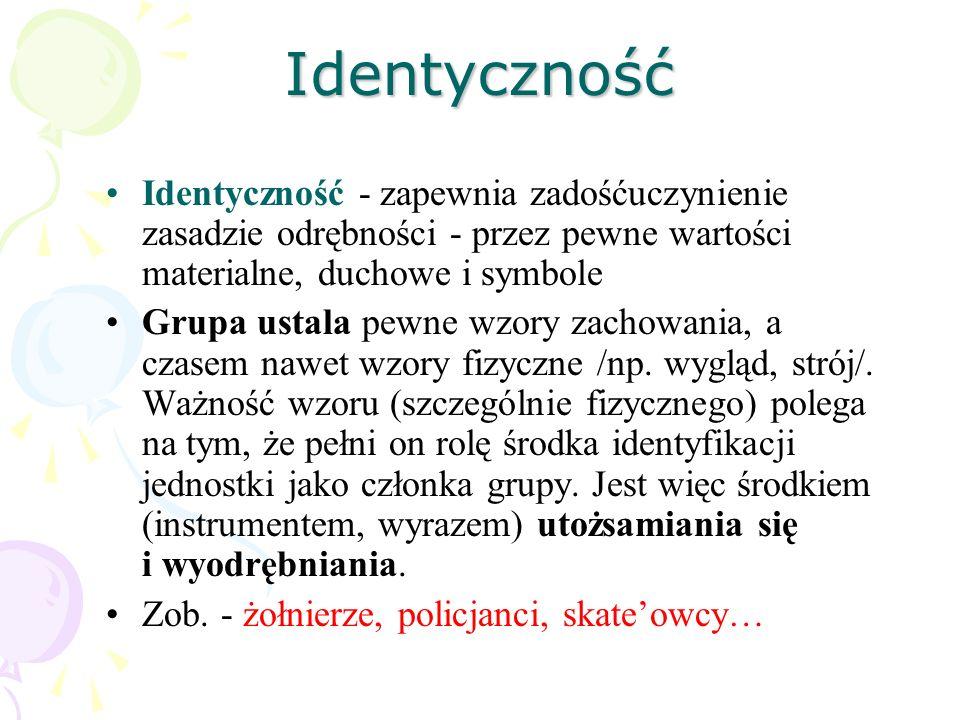 Identyczność Identyczność - zapewnia zadośćuczynienie zasadzie odrębności - przez pewne wartości materialne, duchowe i symbole.