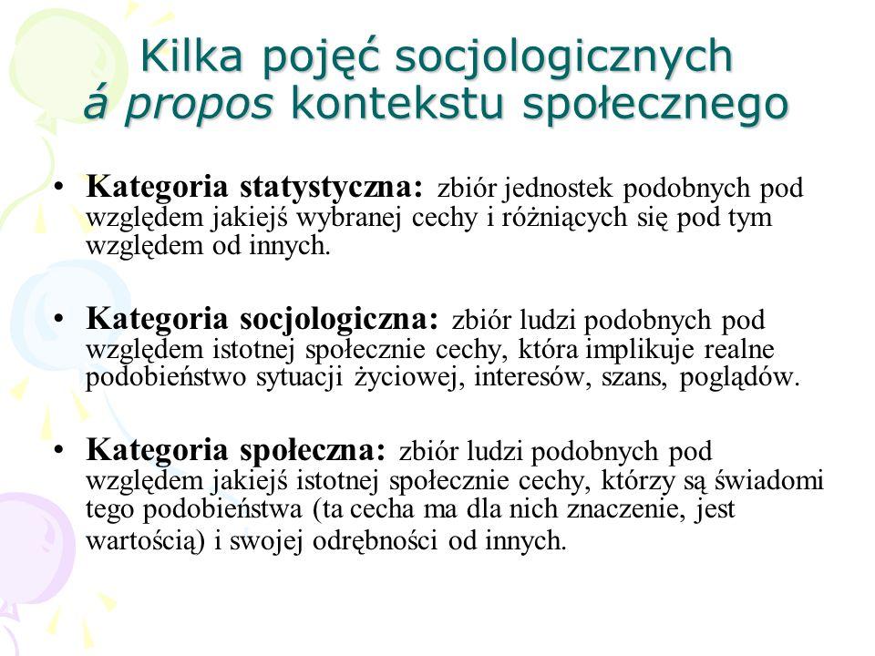 Kilka pojęć socjologicznych á propos kontekstu społecznego