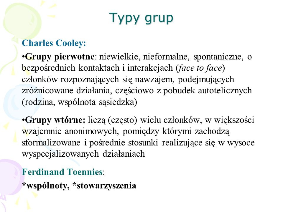 Typy grup Charles Cooley: