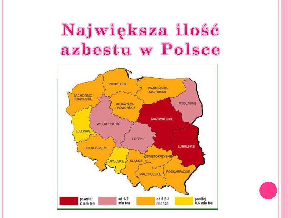 Największa ilość azbestu w Polsce