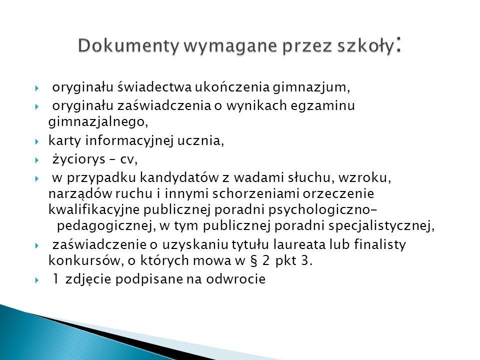 Dokumenty wymagane przez szkoły: