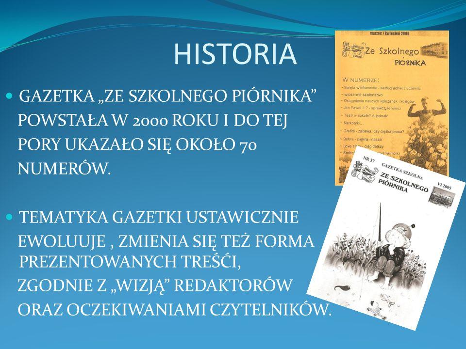 """HISTORIA GAZETKA """"ZE SZKOLNEGO PIÓRNIKA POWSTAŁA W 2000 ROKU I DO TEJ"""