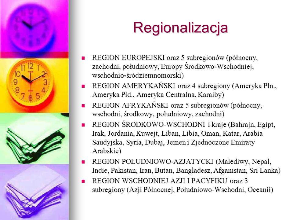 Regionalizacja REGION EUROPEJSKI oraz 5 subregionów (północny, zachodni, południowy, Europy Środkowo-Wschodniej, wschodnio-śródziemnomorski)