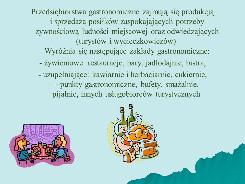 - żywieniowe: restauracje, bary, jadłodajnie, bistra,